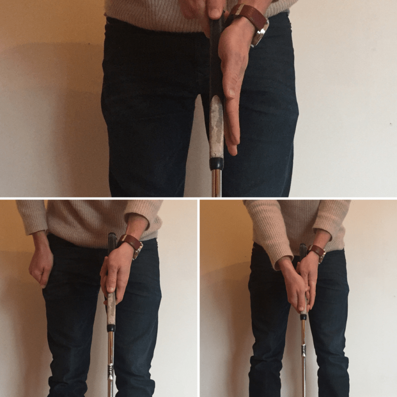 proper putting grip face on - Once you have your left hand in place, the right mirrors it. Note how both thumbs point down to the club face. This grip, with an extended left finger is called the vardon reverse overlap.