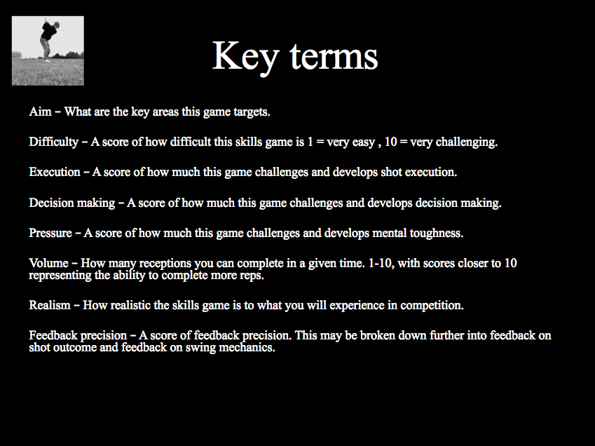 Golf practice games key terms