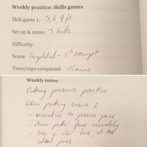 Golf performance diary putt well under pressure notes