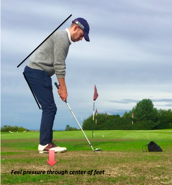 Golf pitching set up angles. Set up with your spine in a neutral position and a little knee flex. Feel athletic and balanced.