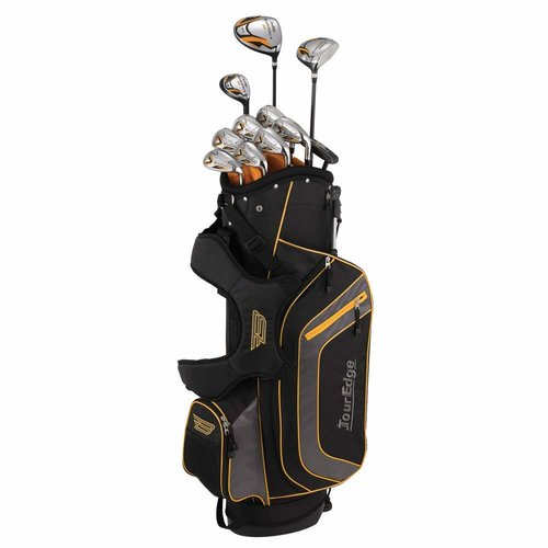 best affordable beginner clubs are the tour edge bazooka set. This image shows the full set of clubs in their stand bag.