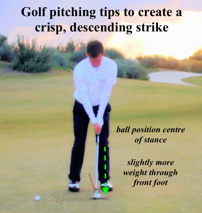 golf pitching set up. The golf ball should be centre of your stance, with a little more weight on your front foot.