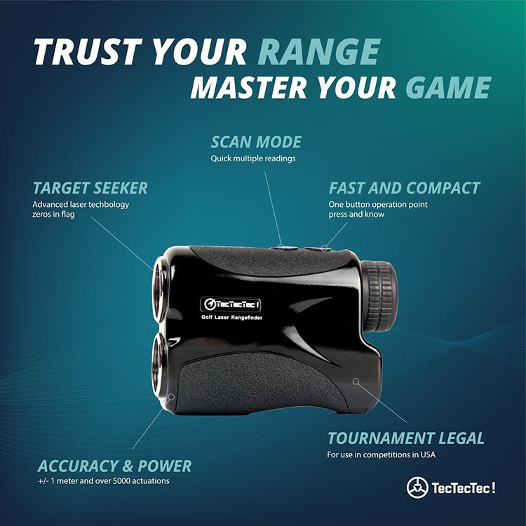 Tec Tec Tec range finder best golf range finder review. Showing its features including scan mode and target seeker.