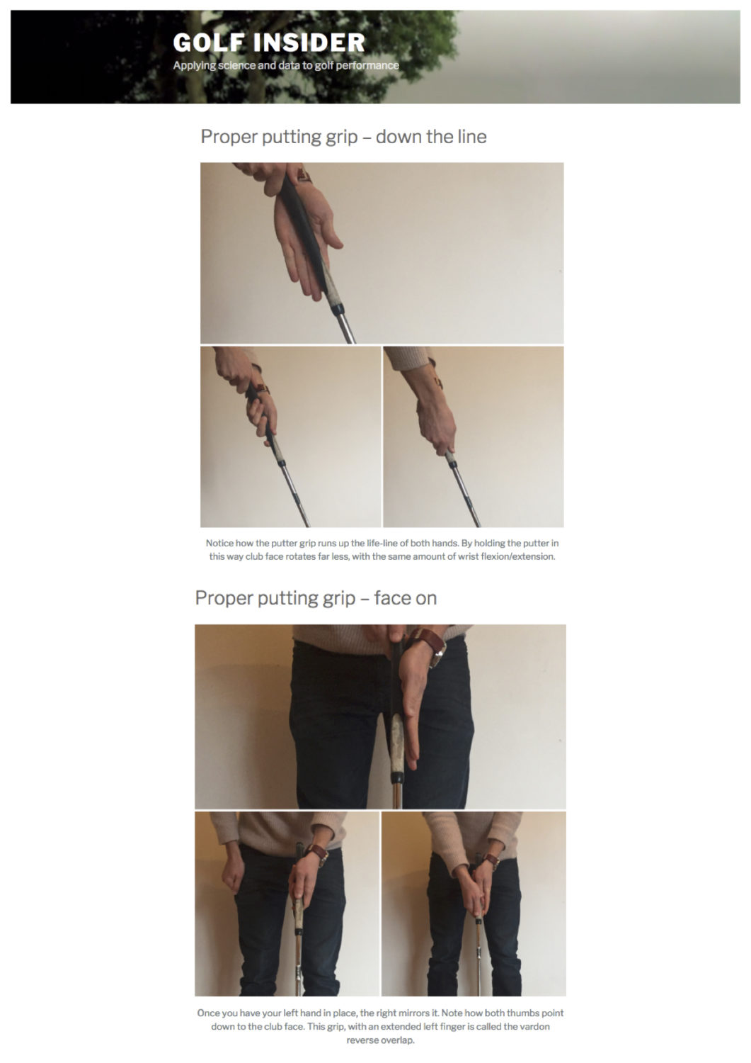 how to hold a putter infographic