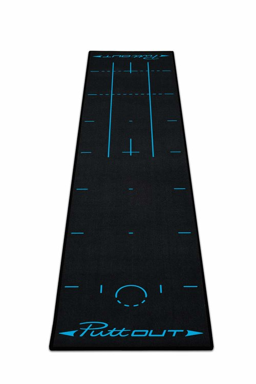 Puttout matt in black and blue. The puttout matt has great alignment aids for your stance and putter face.