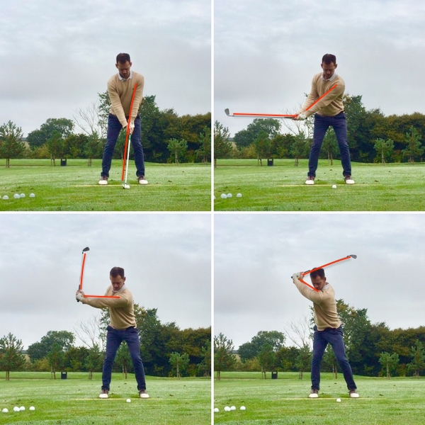 Golf backswing wrist hinge. This sequence of images shows how to hinge your wrists through your backswing.