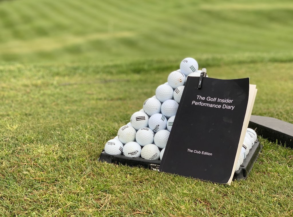 golf practice guide with range balls