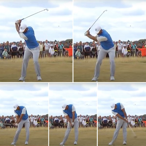 showing Tiger Wood striking down on the golf ball