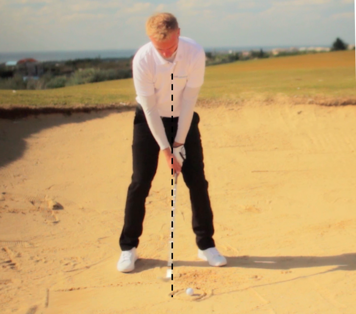 bunker shot set-up, place the ball 2 to 3 inches forward in your stance