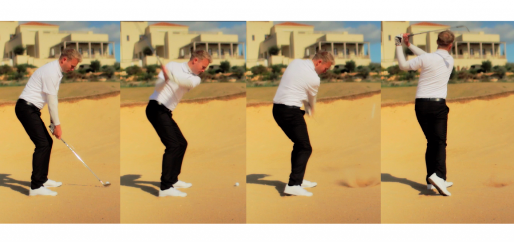 Bunk shot body action – Keep your body posture (knee flex and hip flex) stable, but allow all of your body to rotate through the bunker  shot.