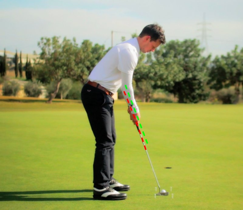 a variation of the proper putting grip where the forearms run parallel to the putter shaft