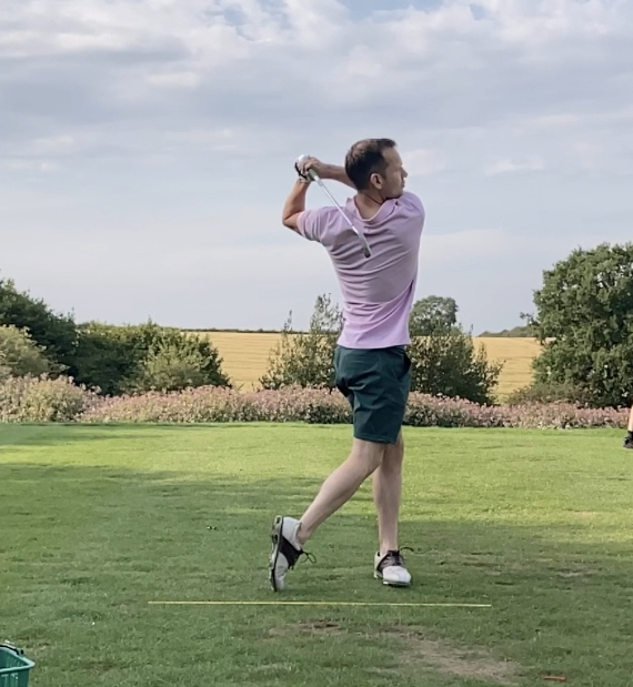 An follow through is where the golfer has turned through to face their target and is balance on their front foot