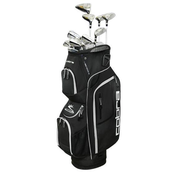 Cobra XL golf club set in a black cart bag