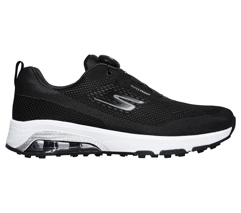 skechers go golf air-twist shoe in black side profile view