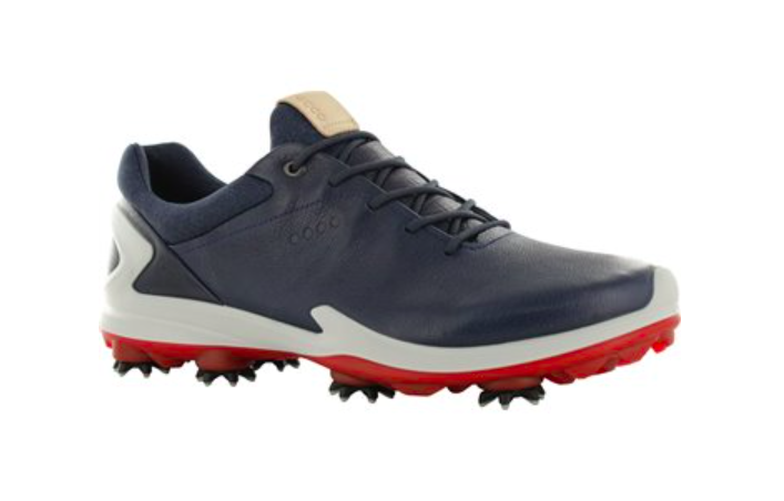 Spiked Ecco golf shoes in Navy and white leather