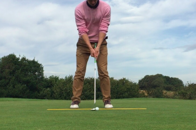 putting tips ball position, place your ball two inches ahead of your sternum.