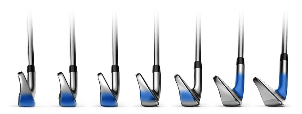 Cobra F-Max irons side on showing the progressive hosel design