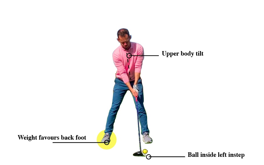 how to setup with driver – ball inside front foot, weight favours back foot