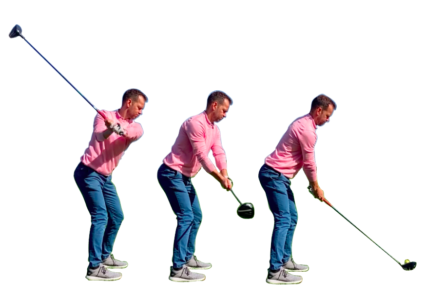 driver swing – make a wide takeaway when hitting driver and transfer your weight behind the ball