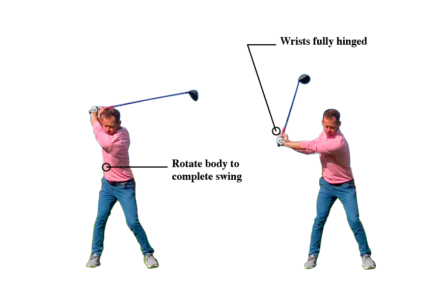 make sure you rotate your body and set wrist when hitting driver
