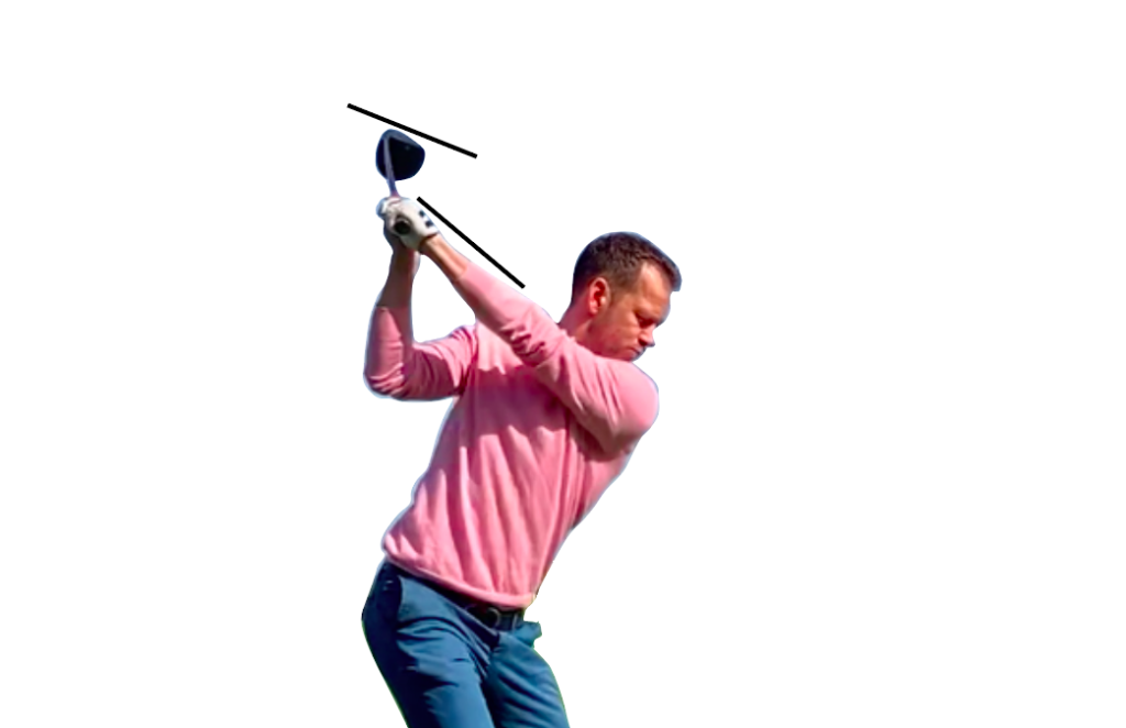 there is no perfect driver swing, but this image shows that getting your driver face square to your left forearm will help hitting driver straight.