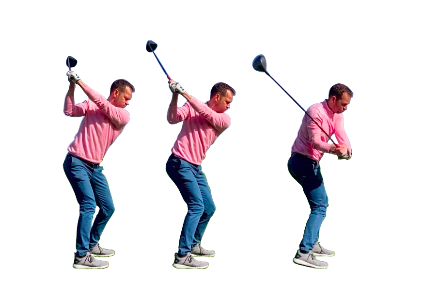 golf swing basics, top of swing and downswing of golfer