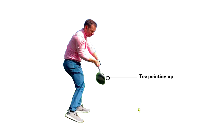 to hit a driver straight you want the toe of the golf club to point upward before impact. This will make sure you are able to hit straighter drives.