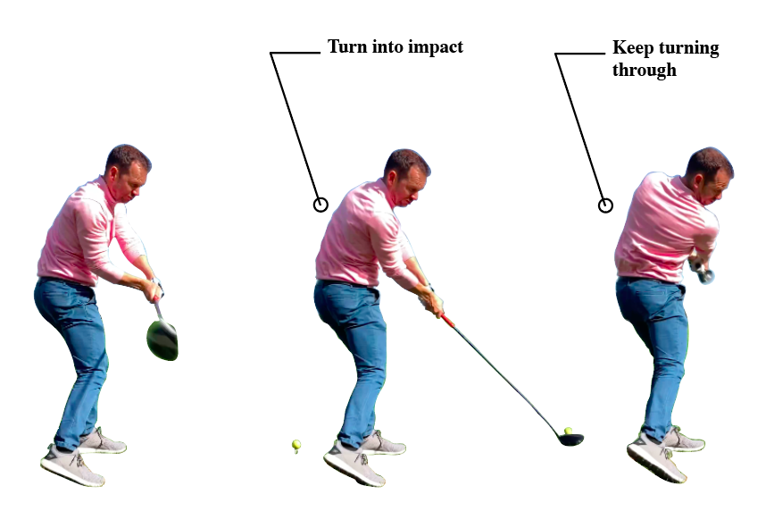 Make sure you rotate your body into impact and through into your follow through.