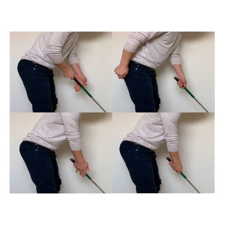 How to hold a golf club with the proper golf grip: Start with your fingers extended, note the wrist angle to help the club run through the correct part of the hand and fingers