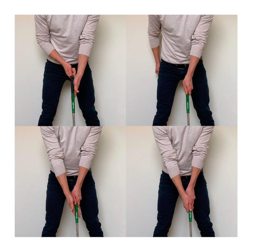 showing a sequence of the golf grip, and important golf swing basics