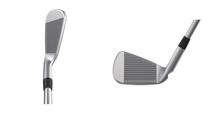 Ping i500 iron profile showing thin top line and profile of club head from face on