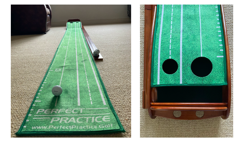 Perfect Practice putting mat showing regular and half sized hole