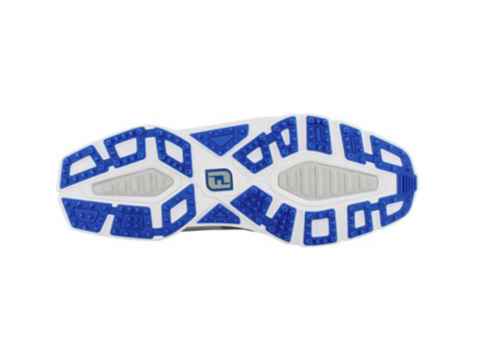 The sole of the Footjoy spikeless golf shoe has many small dimples to increase traction.