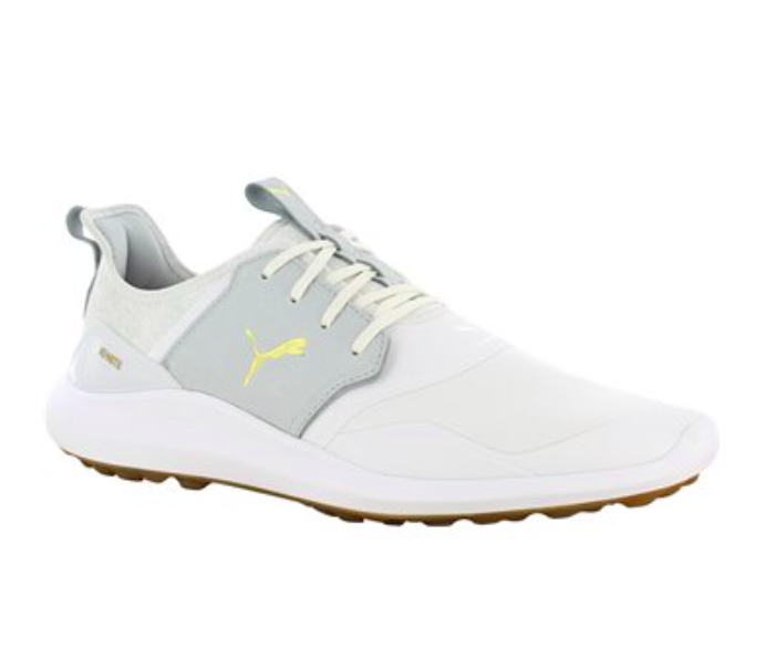 Puma Ignite NXT spikeless golf shoes in cream and grey with yellow logo
