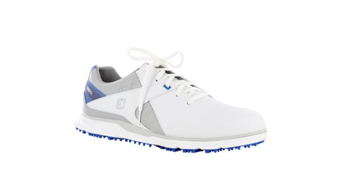 FootJoy Pro SL golf shoe in white, grey and blue