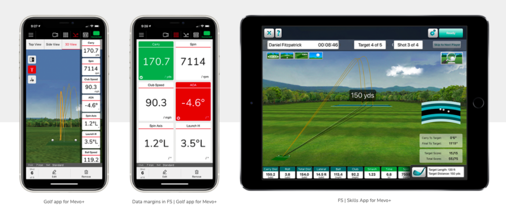 Mevo plus review images of the ipad and iphone screens displaying 3D ball flight data and launch data