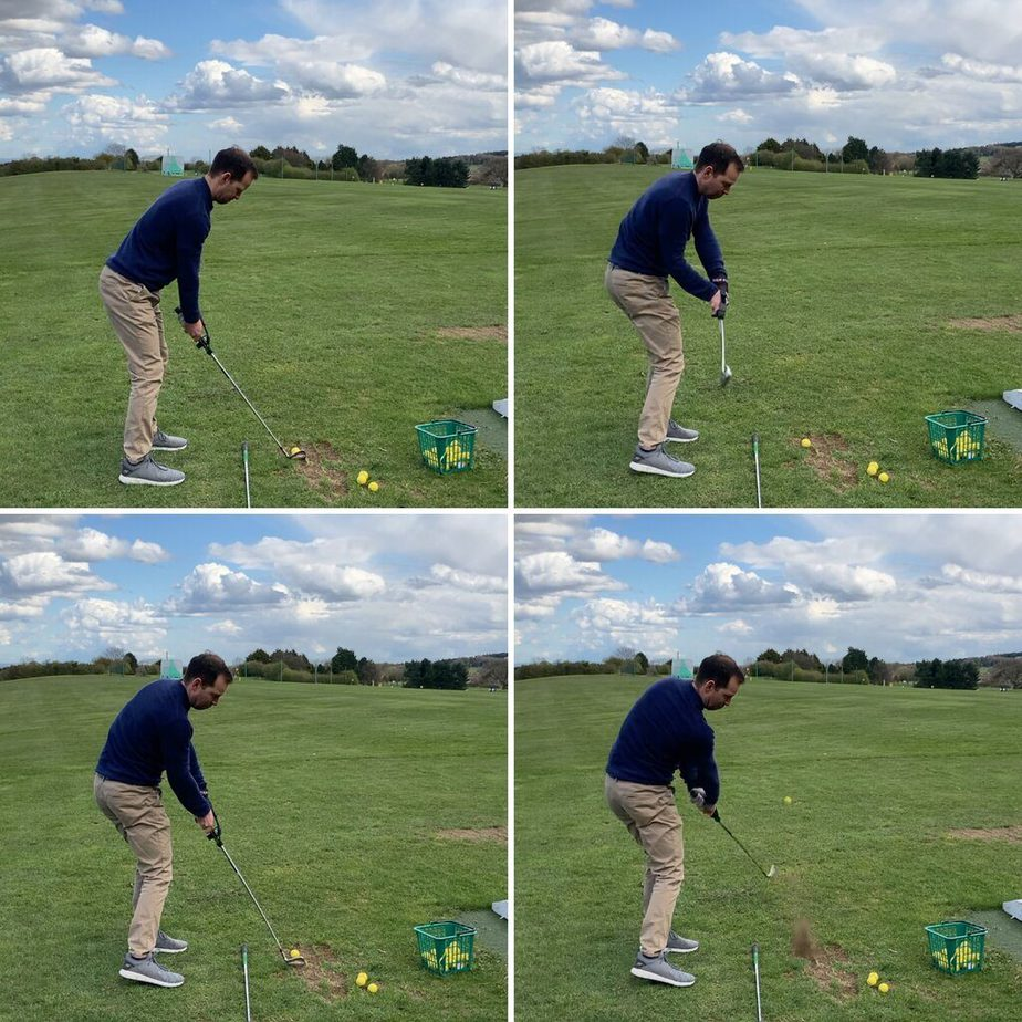 Swing sequence during testing, hitting shots with the impact strap