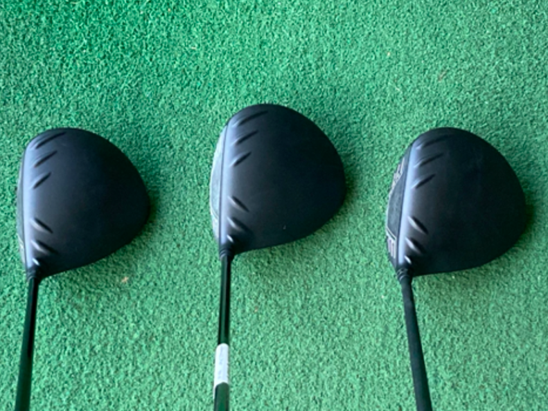 A picture of the Ping G425 SFT, Max and SFT looking down from a golfers view in testing