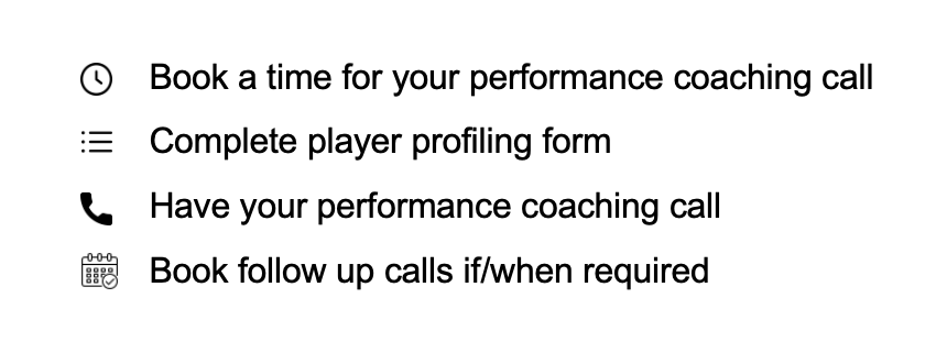 One off golf performance coaching process