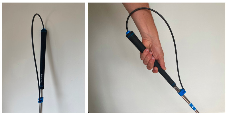 B1 Blue Strike Impact Bow and bow in action with left hand grip in place